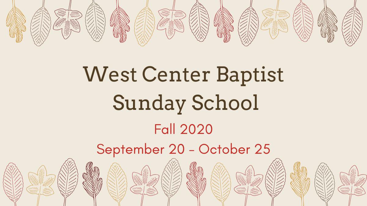 Sunday School - Fall 2020